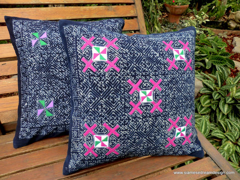 Natural,Indigo,Batik,and,Colorful,Applique,Hmong,Pillow,/,Cushion,Cover,blue boho Pillow, appliqued pillow, pillow,cushion,covers,batik,16,Home_decor,Decor_and_Housewares,bohemian,decorative_pillow,Hmong_pillow,Indigo_batik,throw_pillow,ethnic_pillow,cotton,indigo dye