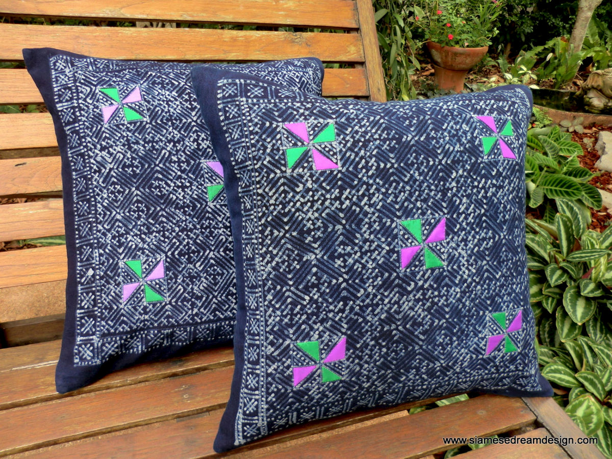 Natural Indigo Batik and Colorful Applique Hmong Pillow / Cushion Cover - product images  of