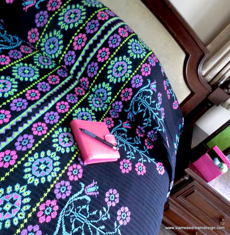 Bedspread,in,Vivid,Pink,,Blue,,Green,&,Purple,Hmong,Embroidery,on,Black,Cotton,and,Hemp, Bedroom,Duvet,Embroidered,Blanket,Colorful,Repurposed,Pink,Free_Shipping_Etsy,cotton,natural cotton,embroidery,woven hemp
