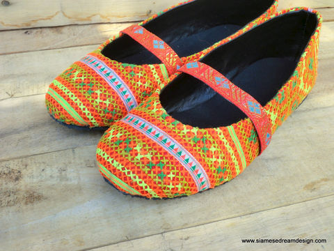 Micha,Orange,Ethnic,Hmong,Embroidered,Womens,Ballet,Flats,Clothing,Shoes,Women,Vegan,Ballet_Flats,Colorful_Shoes,Vegan_Shoes,Flat_Shoes,Womens_Shoes,Boho,shoes,clothing,5_6_9,cotton,natural cotton,embroidered,batik