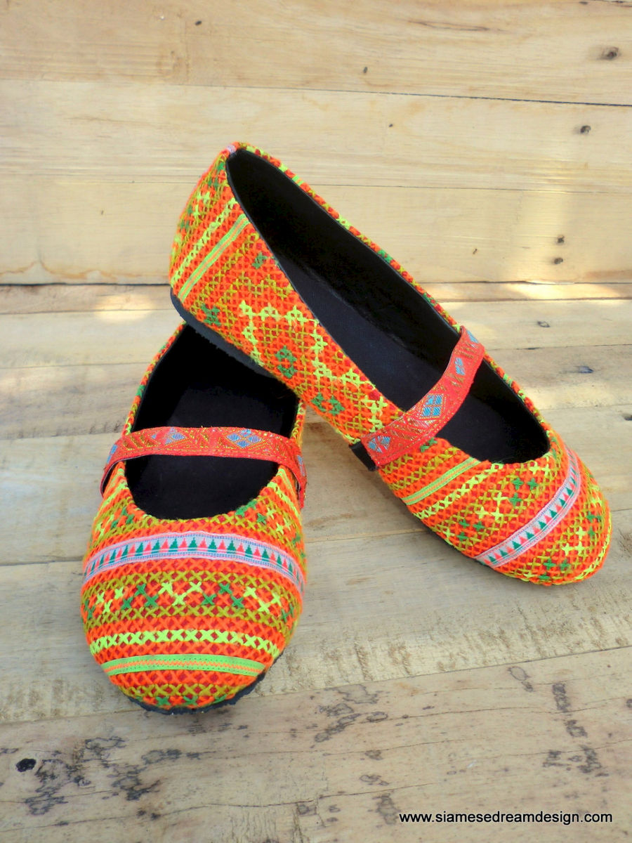 Micha Orange Ethnic Hmong Embroidered Womens Ballet Flats - product images  of