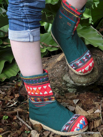 Kala,Green,Akha,Vegan,Boot,In,Colorful,Tribal,Applique,Clothing,Shoes,Women,Boots,Handmade,Embroidered,Bootie,Appliqued,Mid_Calf_Boot,Tribal_Boot,Vegan_Shoe,Vegan_Boot,womens_boot,7_8_9,cotton,natural cotton,embroidered,applique,vegan