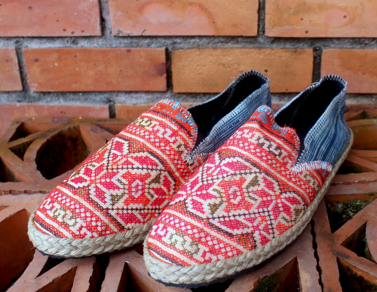 Morgan - Hmong Embroidered Womens Loafers With Indigo Batik - product images  of