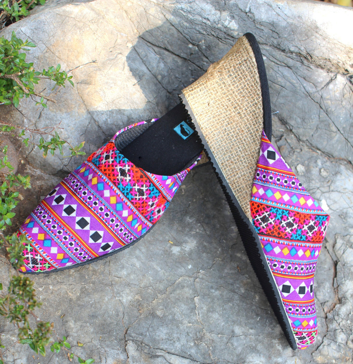 Veronica Lavender Hmong Embroidered Womens Slide With Wedge Heel - product images  of