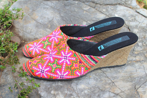 Veronica,Colorful,Hmong,Embroidered,Wedge,Heeled,Womens,Slide,Clothing,Shoes,Women,Batik,Vegan,Pink,Embroidered_Shoes,Embroidered_Slides,6_7_8_9,slip_on_shoes,Boho_shoes,cotton,rubber sole,vegan