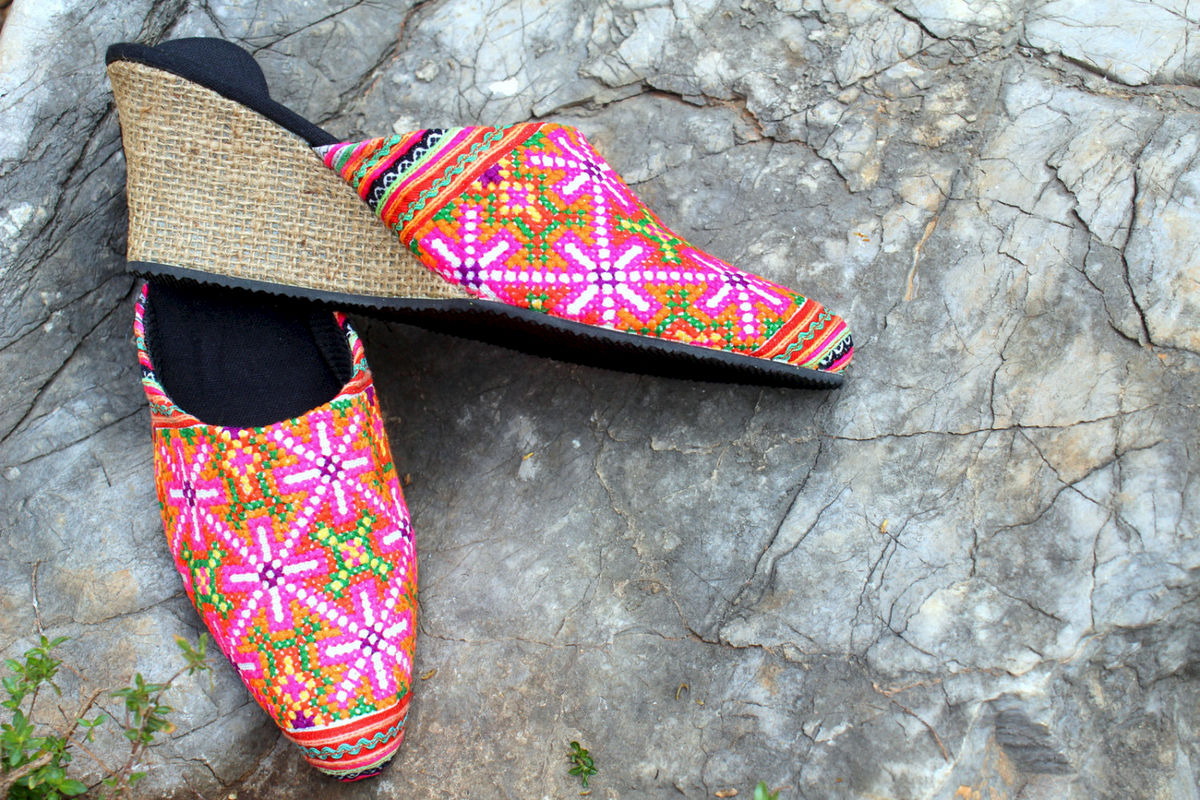 Veronica Colorful Hmong Embroidered Wedge Heeled Womens Slide - product images  of