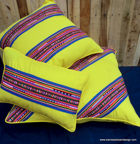3,Sizes,Of,Colorful,Tribal,Lisu,Yellow,Pillow's,Housewares,Pillow,Appliqued,yellow Pillows,bright yellow Cushions,boho pillows, Colorful Floor pillow,Ethnic,Fair_Trade,30 inch pillow, 24 inch pillow, yellow Lumbar pillow,natural cotton,appliqued cotton