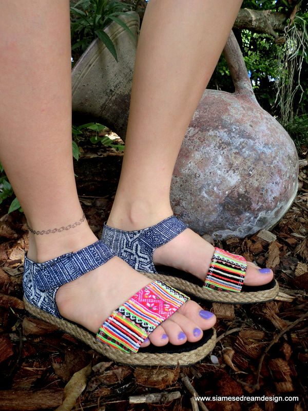 Kristy Flat Vegan Womens Sandals In Colorful Hmong Embroidery & Deep