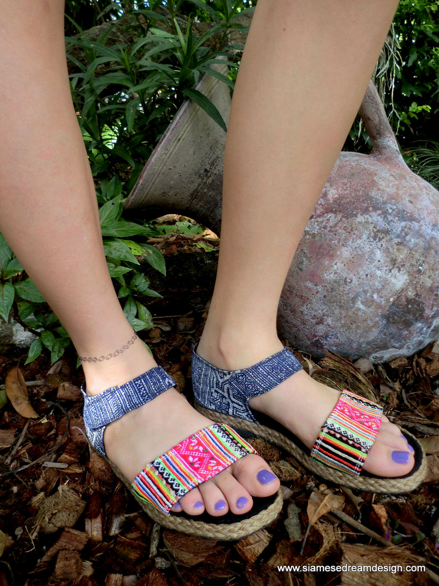Kristy Flat Vegan Womens Sandals In Colorful Hmong Embroidery &  Deep Blue Batik - product images  of