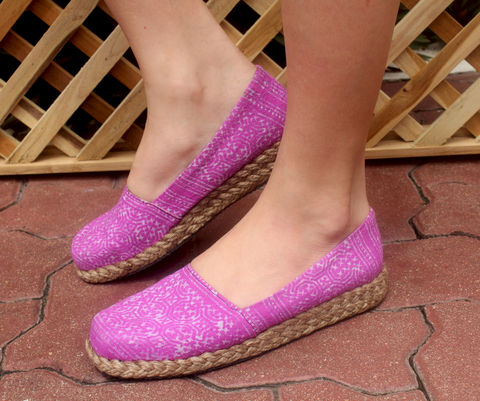 Chloe,Womens,Loafers,In,Lilac,Hmong,Batik,Clothing,Shoes,Women,Colorful_Shoes,Hmong_Shoe,Striped_Shoe,Hmong_Embroidered,Tribal_Shoes,womens_shoes,vegan_shoes,womens_loafers,batik,women,ethnic_shoes,flat_shoes,6_7_5_8_5_9_5_10,cotton,natural cotton,vegan,hand stamped batik,rubber,rope trim