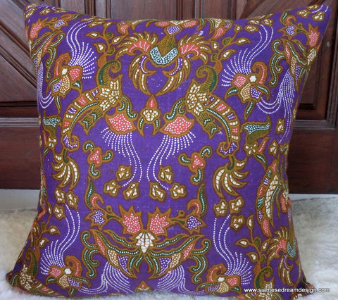 Balinese,Batik,Pillow,/,Cushion,Cover,In,Colorful,Purple,and,Green,With,Coral,Accents,Housewares,Cotton,cotton,pillow_cover,cushion_cover,Bali,Batik_Pillow,Natural_Cotton,Balinese_Batik,Balinese_textiles,16_inch_pillow,throw_pillow,ethnic,eclectic,batik,cotton batik,natural cotton