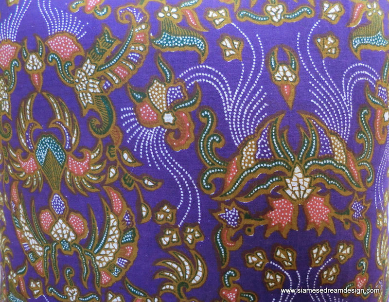 Balinese Batik Pillow / Cushion Cover In Colorful Purple and Green With Coral Accents - product images  of