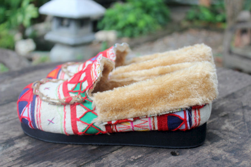 Riley Womens Mocassin Slippers in Ivory Tribal Akha Embroidery - product images  of