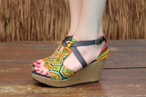 Leighanna,Vegan,Womens,Ethnic,Wedge,Heel,Sandals,Colorful,Hmong,Embroidery, Siamese Dream Design, vegan shoes, womens ethnic sandals, Hmong shoes, vegan sandals, colorful sandals, handmade shoes, fair trade, eco friendly fashion,womens