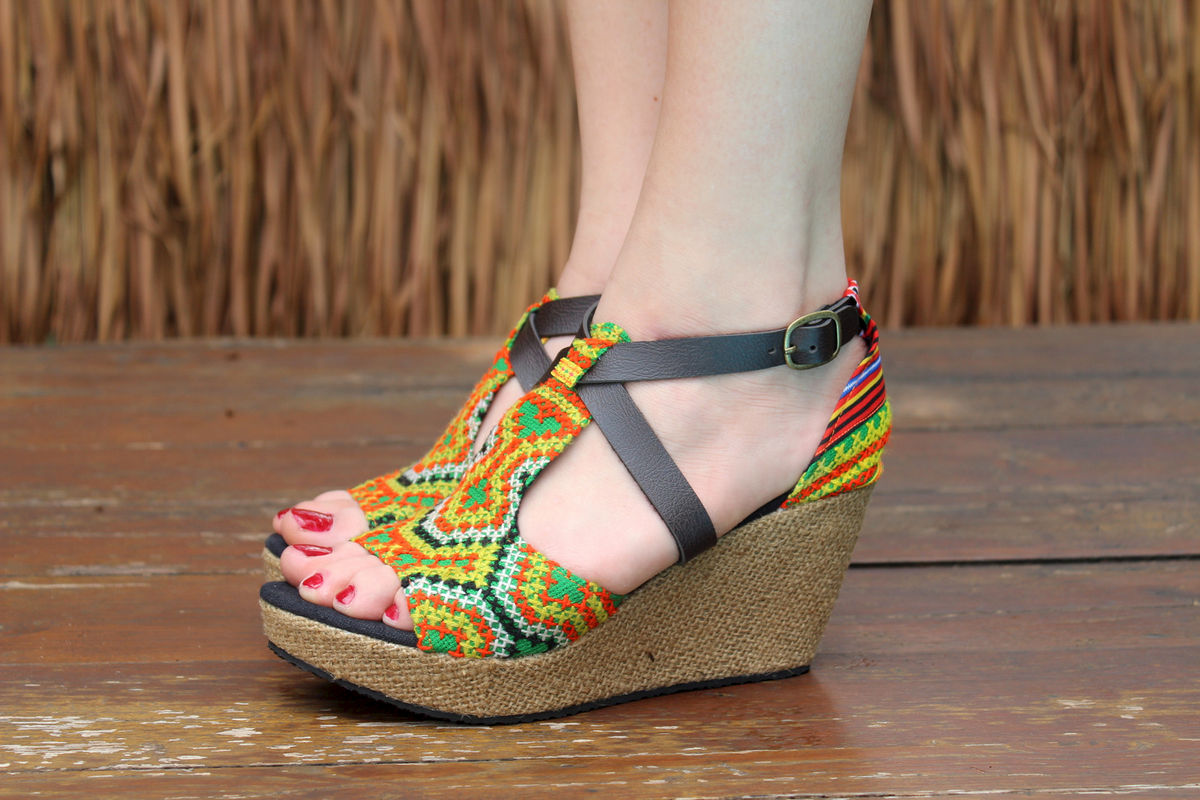Womens sandals wedges - Leighanna Vegan Womens Ethnic Wedge Heel Sandals Colorful Hmong Embroidery
