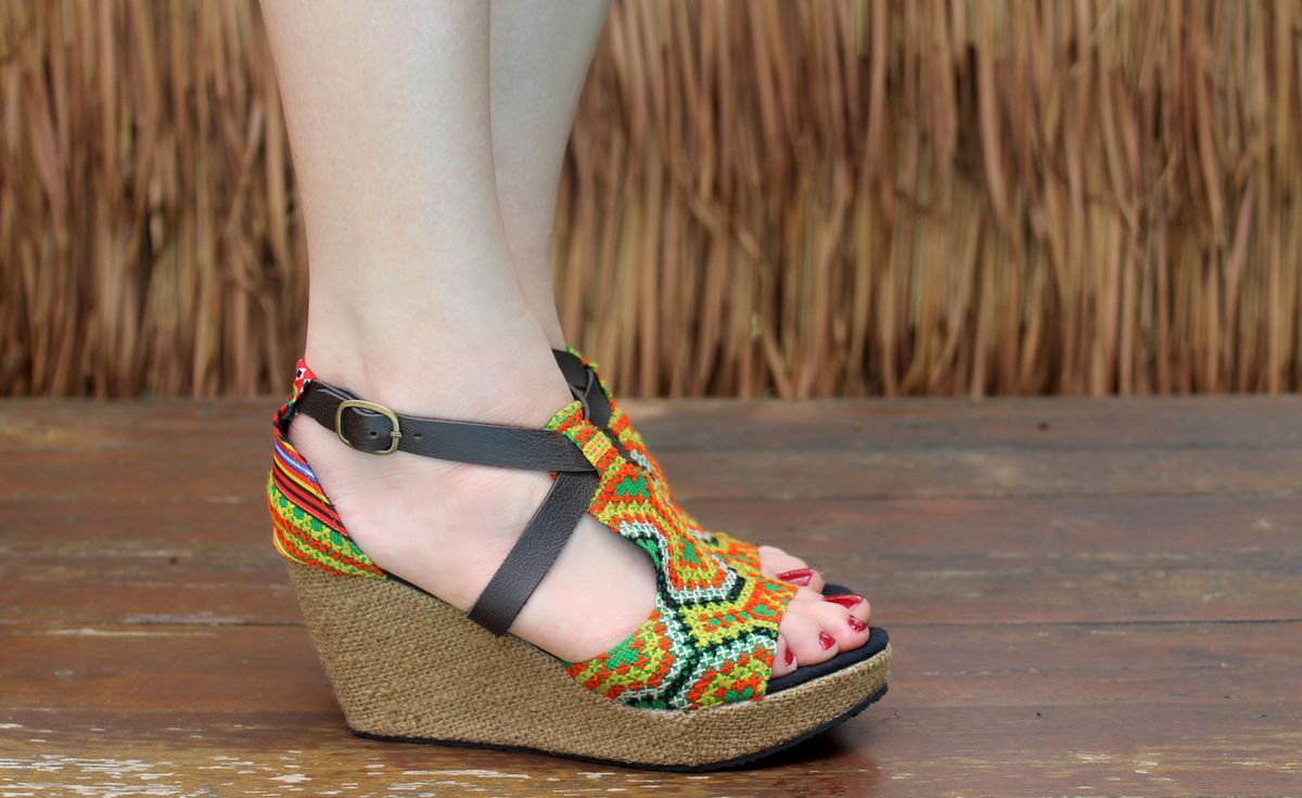 Leighanna Vegan Womens Ethnic Wedge Heel Sandals Colorful Hmong Embroidery - product images  of