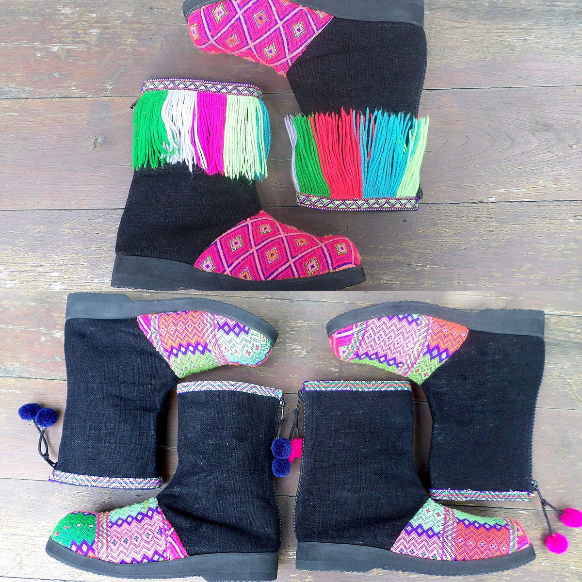 Kala Funky Womens Short Boot In Rich Tribal Colors Accented With Fringe Or Pom Poms - product images  of