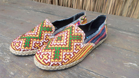 Morgan,Colorful,Womens,Loafers,In,Yellow,Hmong,Embroidery,And,Indigo,Batik,Clothing,Shoes,Womens Loafers,Vegan espadrilles,ethnic_shoes,casual_shoes,womens_shoes,Hmong_shoes,womens_flats,embroidered_shoes,Bohemian,7_5,summer_shoes,rubber sole,vegan,Hmong embroidered cotton,rope trim