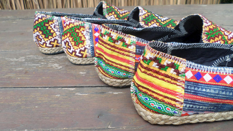 Morgan Colorful Womens Loafers In Yellow Hmong Embroidery And Indigo Batik - product images  of