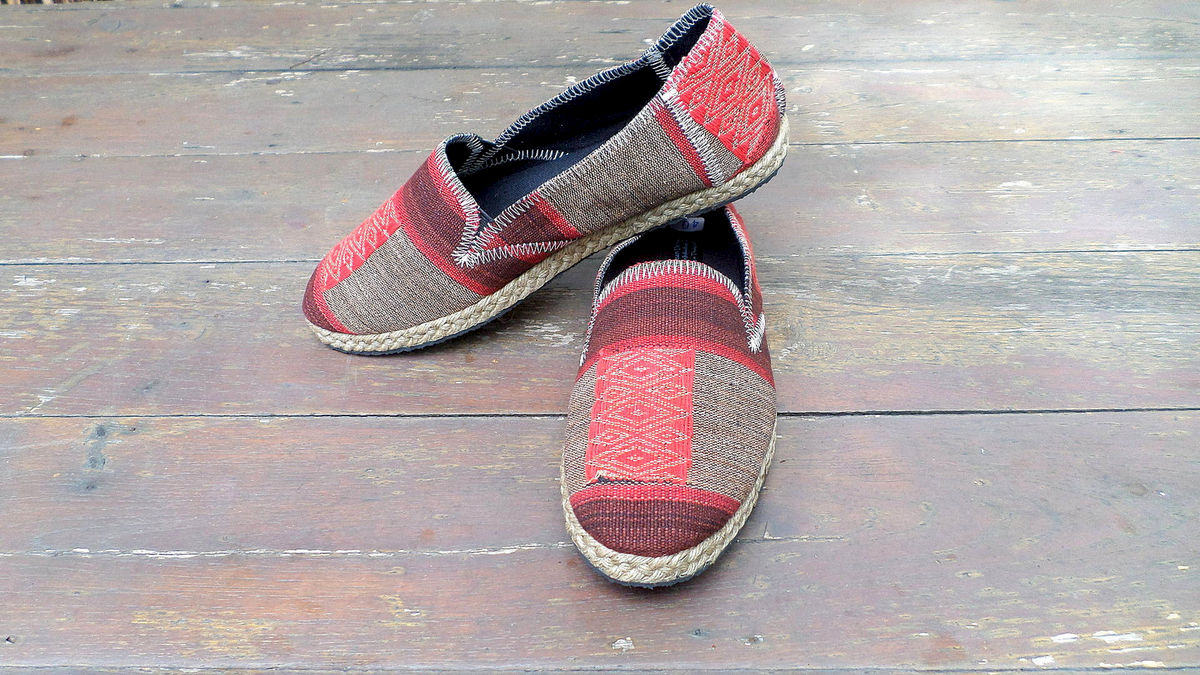 Morgan Womens Vegan Loafer In Burgundy Striped Ethnic Naga Textiles - product images  of