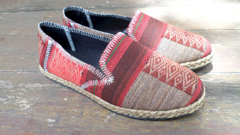 Morgan,Womens,Vegan,Loafer,In,Burgundy,Striped,Ethnic,Naga,Textiles,Clothing,Shoes,Women,Loafers,ethnic_shoes,casual_shoes,womens_shoes,womens_flats,embroidered_shoes,Bohemian,tribal_shoes,vegan_shoes,womens espadrille,fair_trade_shoes,rubber sole,vegan,rope trim,Naga embroidered cotton