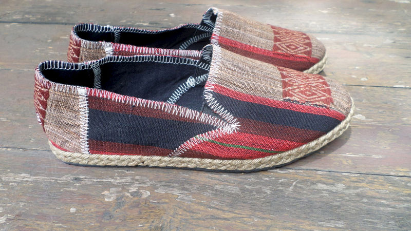 Morgan Womens Vegan Loafer In Striped Burgundy Ethnic Naga Textiles - product images  of