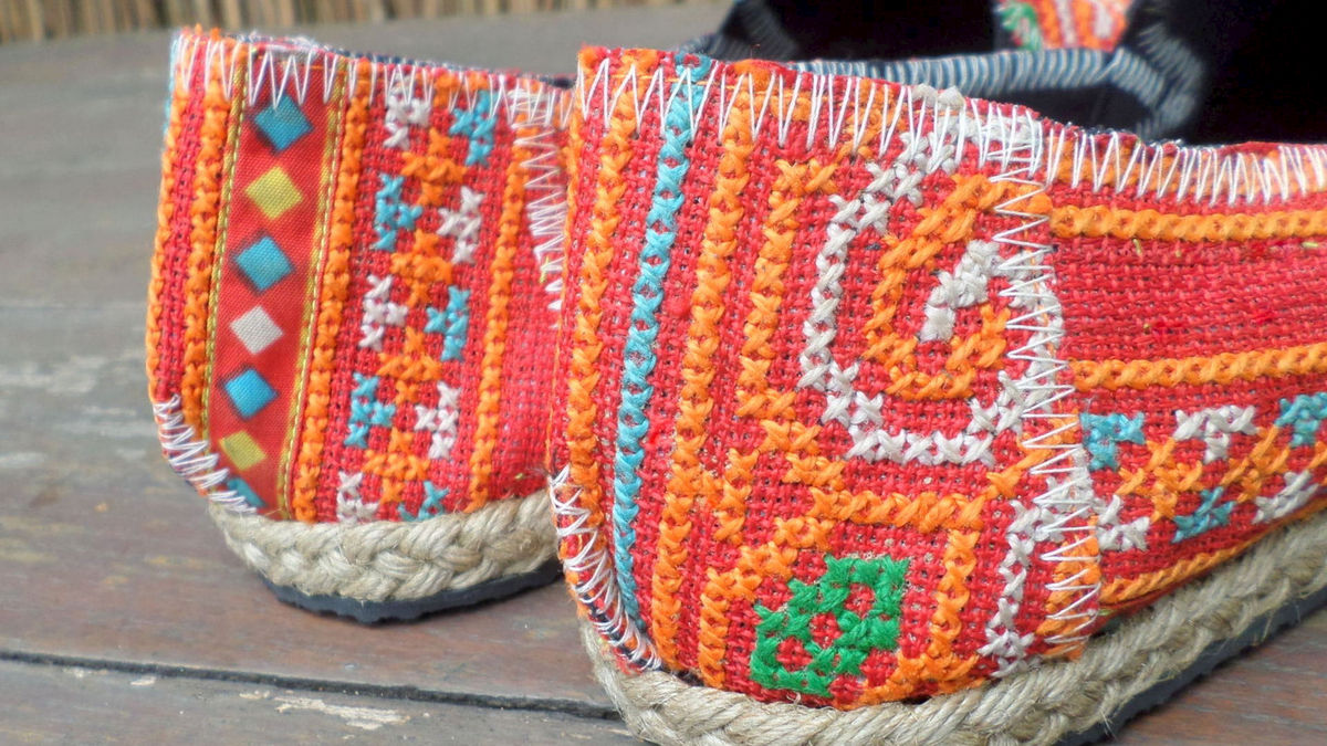 Morgan Womens Espadrilles In Tangerine Hmong Embroidery  - product images  of
