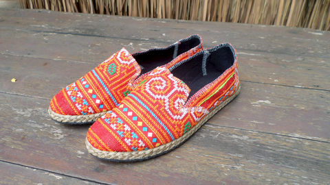 Morgan,Womens,Espadrilles,In,Tangerine,Hmong,Embroidery,Clothing,Shoes,Womens Loafers,Vegan espadrilles,ethnic_shoes,casual_shoes,womens_shoes,Hmong_shoes,womens_flats,embroidered_shoes,Bohemian,7_5,summer_shoes,rubber sole,vegan,Hmong embroidered cotton,rope trim
