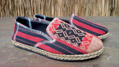 Morgan,Womens,Vegan,Loafer,In,Red,And,Black,Ethnic,Naga,Textiles,Clothing,Shoes,Women,Loafers,ethnic_shoes,casual_shoes,womens_shoes,womens_flats,embroidered_shoes,Bohemian,tribal_shoes,vegan_shoes,womens espadrille,fair_trade_shoes,rubber sole,vegan,rope trim,Naga embroidered cotton