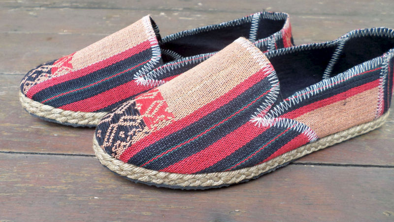 Morgan Womens Vegan Loafer In Red And Black Ethnic Naga Textiles - product images  of
