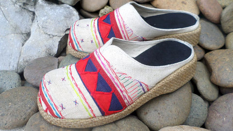 Womens,Clogs,In,Colorful,Ethnic,Akha,Embroidery,Clothing,Shoes,Slide,Clog,vegan_shoes,womens_shoes,womens_ethnic_shoes,embroidered_shoes,slip_on_shoes,ethnic_shoes,7,6,tribal,wedge_heel_shoes,artizanmade_team,cotton,natural cotton,embroidery,vegan,Naga textiles