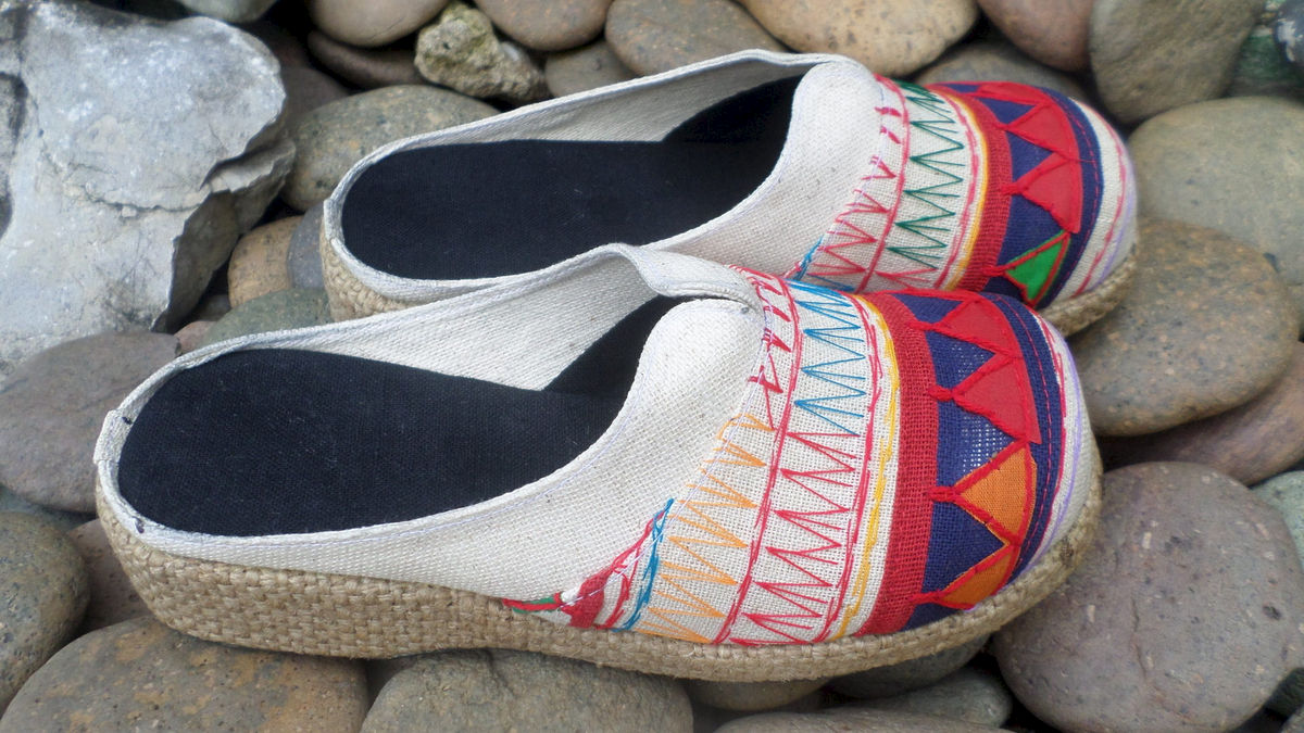 Womens Clogs In Colorful Ethnic Akha Embroidery - product images  of