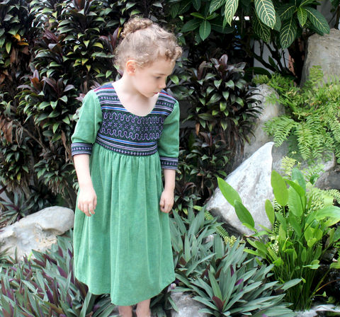 Scarlett,-,Little,Girls,Bohemian,Style,Dress,In,Emerald,Green,Childrens Clothing,Boho Dress,girls Bohemian dress,little_girls_dress,bohemian_child,eco_friendly_clothes,Hmong_dress,hippie_chic,hippie_kids,ethnic_clothes,boho,girls_clothes,fair_trade,natural cotton,girls holiday dress,kids natural clothing