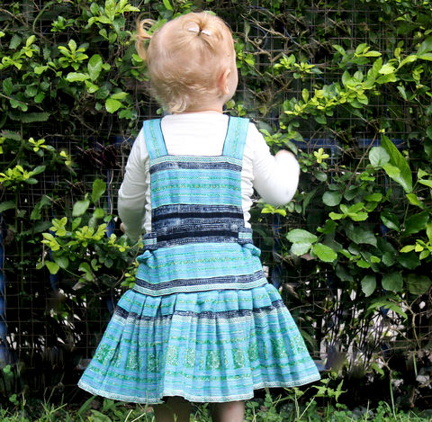 Jessica,Embroidered,Little,Girls,Light,Blue,Hmong,Dress,With,Indigo,Batik,Children,Clothing,Hmong dress,girls_dress,boho little_girls_dress,bohemian_child,eco_friendly_clothes,Hmong_indigo_batik,hippie_chic,hippie_kids,ethnic_clothes,boho,girls_clothes,fair_trade,Hmong_dress,toddler,natural cotton,appliqued cotton