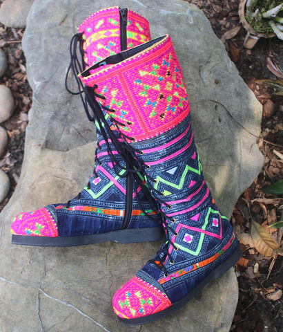 Sadie,-,Womens,Tall,Boots,In,Brilliant,Hmong,Embroidery,On,Deep,Indigo,Batik,Clothing,Shoes,Womens boho boots,Vegan_Boots,purple boots,Tribal_Boots,Unique_Boots,Handmade_Boots,Womens_Boots,clothing,bohemian,ethnic_shoes,womens_shoes,boots,vegan,laces,cotton,batik