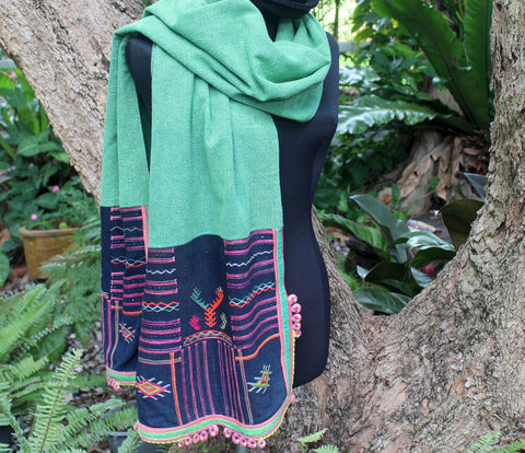 Tai,Lue,Scarf,Vintage,Ethnic,Woven,Textiles,On,Bright,Green,Women's,womens scarf, colorful scarf, womens ethnic scarf, festival wear, boho clothing, shawl, cotton scarf, vintage scraf