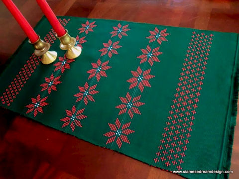 Lahu,Christmas,Placemats,In,Deep,Green,With,Red,Poinsettias,Ethnic Christmas placemats,Poinsettias placemats, Handmade Christmas decor, Holiday placemats, Colorful Christmas decor, homespun Christmas decor,Christmas table