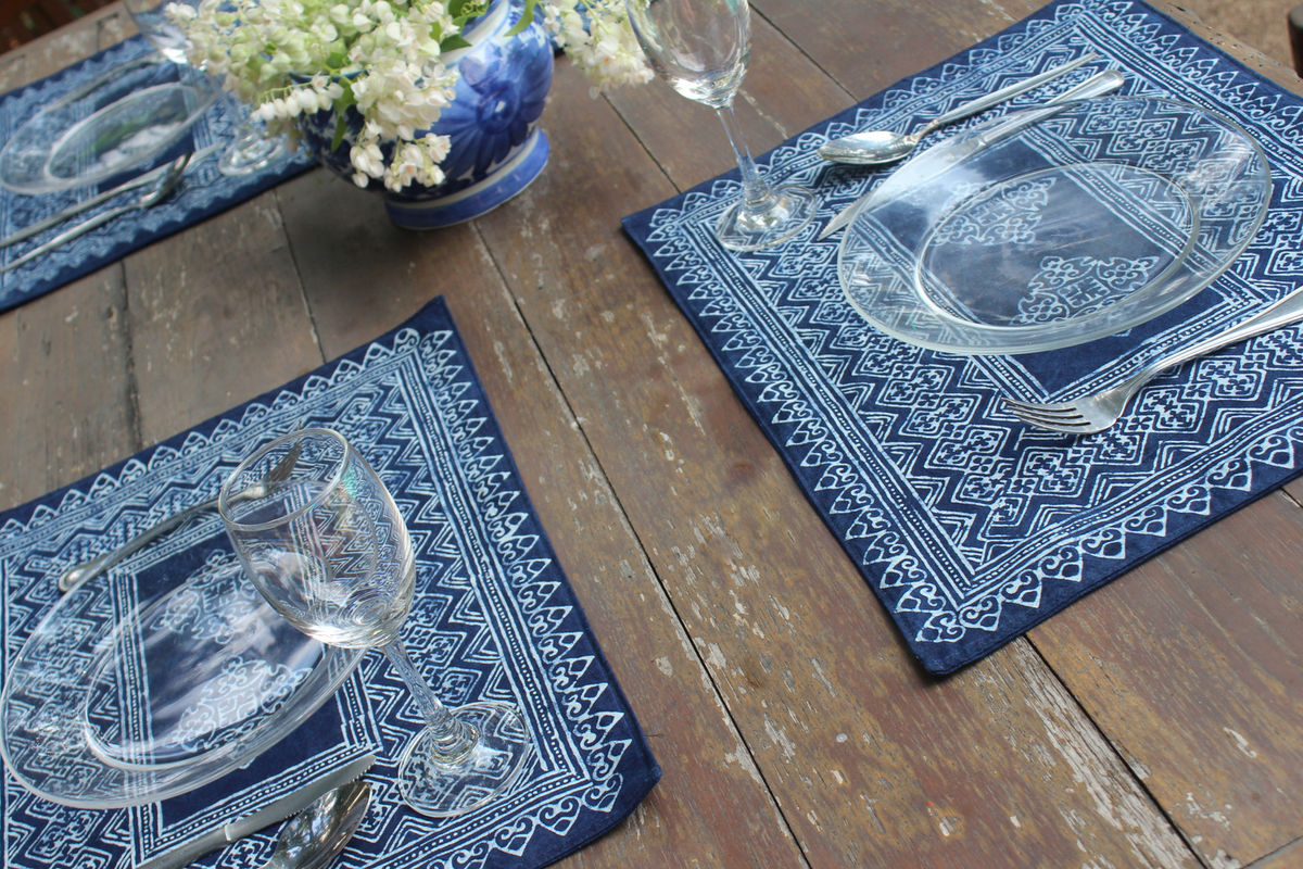 Placemats In Hmong Indigo Batik On Natural Cotton - product images  of