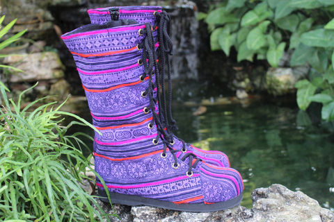 Britta,Womens,Combat,Boots,Ethnic,Hmong,Purple,Batik,Mid,Calf,Lace,Up,Clothing,Shoes,Women,tribal boots,ethnic boots,vegan boots,embroidered boots,combat boots,womens, boots, Hmong boots,clothing,purple boots,vegan womens boots,Festival,6_5,cotton,natural cotton,embroidered,batik,rubber