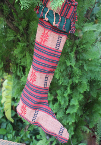 Naga,Christmas,Stockings,In,Tribal,Textiles,Ethnic Christmas stockings, Hmong Christmas stockings, Handmade Christmas stockings, Holiday stockings, Colorful Christmas decor, homespun Christmas decor,indigo batik Christmas stockings