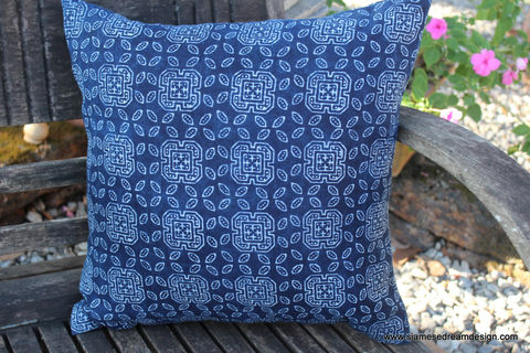16,inch,Hmong,Pillow,/,Cushion,In,Natural,Indigo,Batik,Housewares,Embroidered,pillow,cushion,covers,throw,accent,ethnic,bohemian,Hmong_pillow,indigo_batik,beach,decor,blue_pillow,cotton,batik,indigo dye