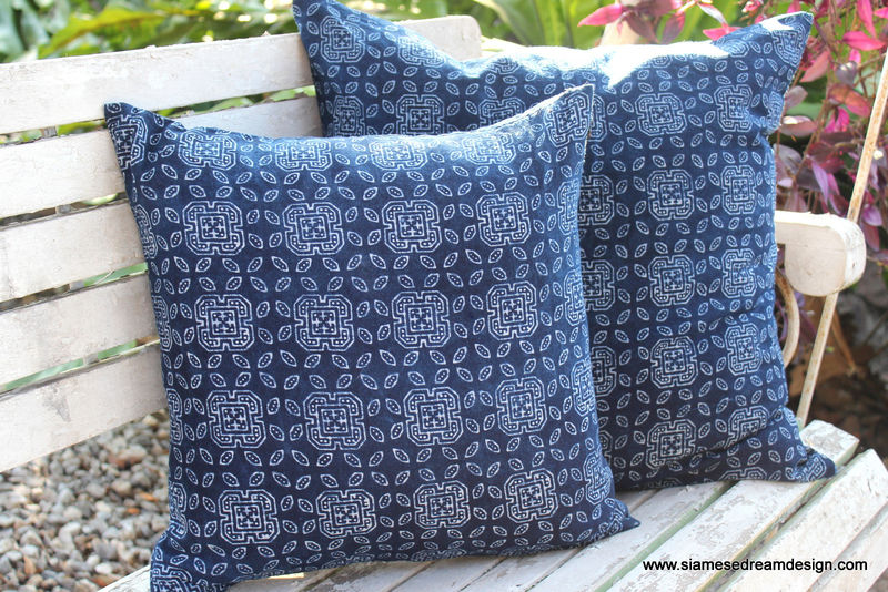 16 inch Hmong Pillow / Cushion In Natural Indigo Batik  - product images  of