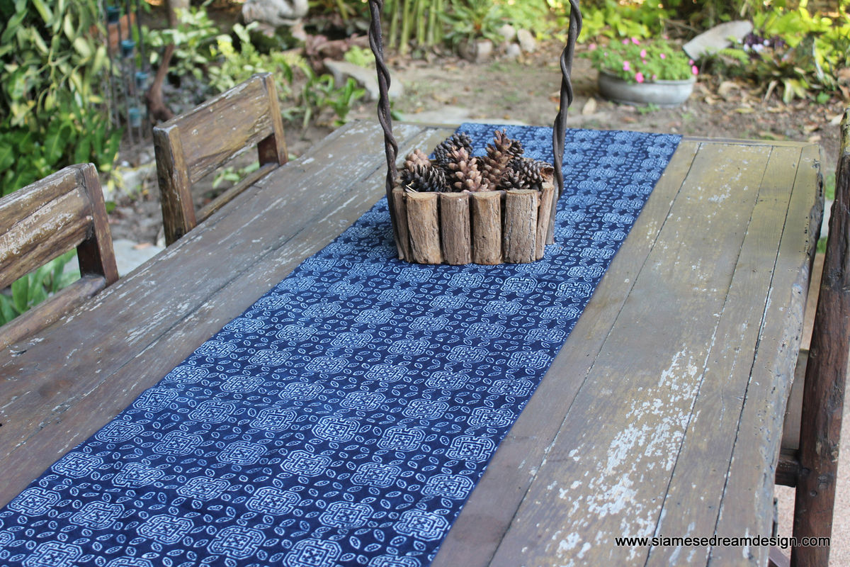 Table Runner In Hmong Natural Indigo Blue Batik - product images  of