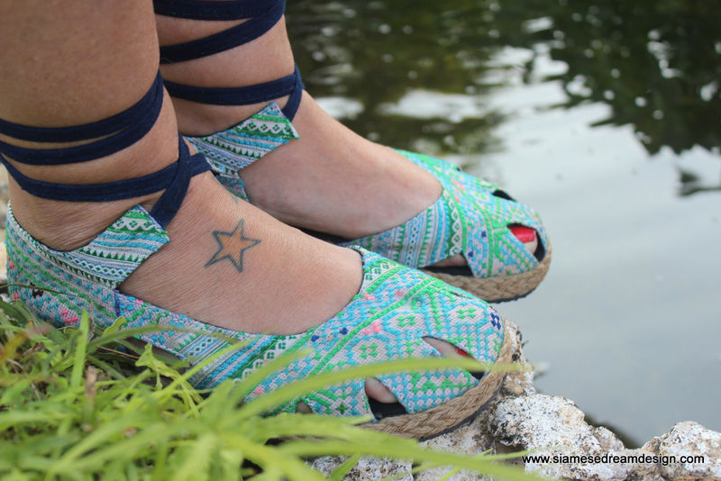 Dahlia Wrap Womens Espadrille With Ankle Wrap In Blue Hmong Embroidery