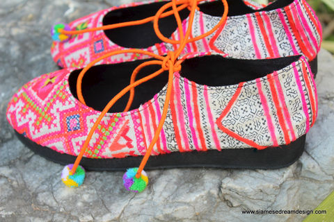 Sabrina,-,Pink,Womens,Ballet,Flats,In,Vintage,Hmong,Embroidery,&,Batik,Hmong shoes,Shoes,Women,ethnic,embroidered shoe,womens ballet_flats,women,flats,batik,colorful_shoes,vegan_shoes,Hmong_shoes,tribal_shoes,6_7_8_9_10,festival,cotton,natural cotton,embroidered