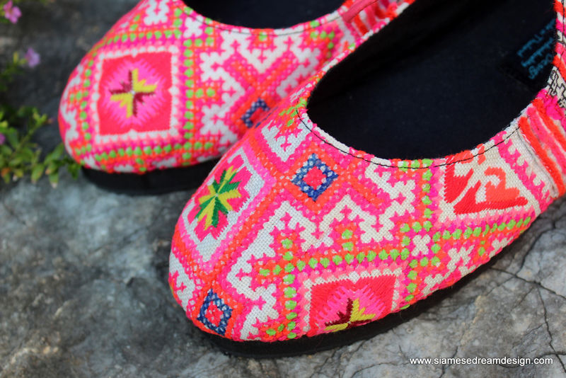 Sabrina - Pink Womens Ballet Flats In Vintage Hmong Embroidery & Batik - product images  of