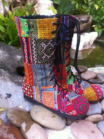 Britta,Womens,Combat,Boots,In,Ethnic,Hmong,Patchwork,Clothing,Shoes,patchwork Womens combat boots, Women tribal boots,ethnic boots,Hmong boots,vegan boots,embroidered womens boots,vegan_boots,Festival,cotton,embroidered patchwork boots