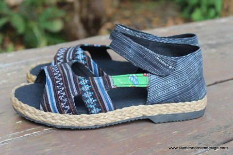 Cealie,-,Open,Toe,Womens,Espadrilles,In,Hmong,Embroidery,&,Batik,Clothing,Shoes,womens Mary_Janes,Ethnic shoes,Embroidered womens shoes,Hmong shoes,Hmong indigo Batik,womens vegan Espadrille,Mary_Jane,vegan_shoes, boho womens_shoes,womens open_toe_flats,6,7,8, 10.5, womens summer shoes