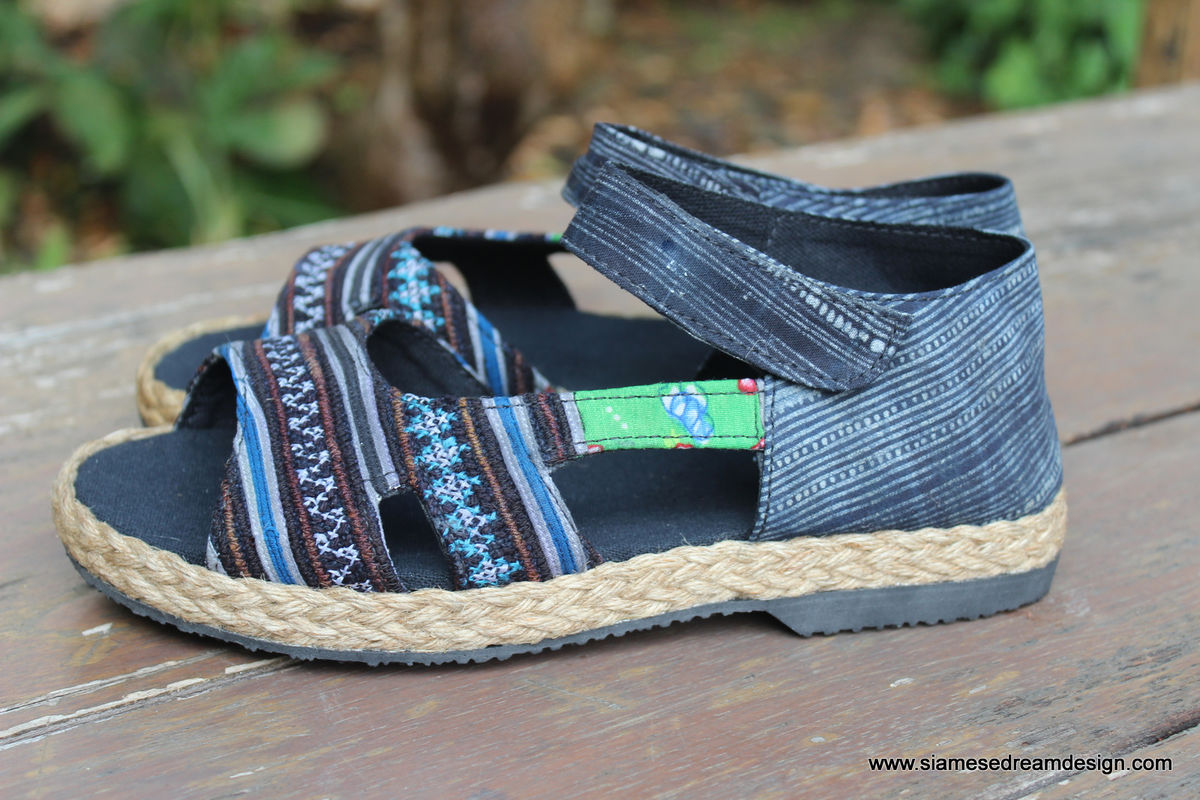 Cealie - Open Toe Womens Espadrilles In Hmong Embroidery & Batik   - product images  of