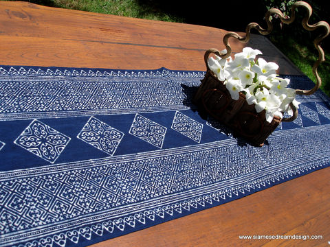 Table,Runner,In,Natural,Hmong,Indigo,Blue,Batik,Housewares,Hmong indigo batik,tribal,accent,indigo batik table_runner,dresser_runner,indigo,natural,cotton,blue,batik,natural indigo dye